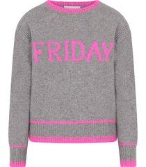 alberta ferretti grey sweater for girl with fucshia writing