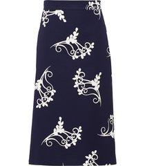 prada poplin fan print skirt - blue
