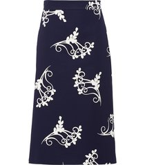 prada poplin fan print skirt - blue