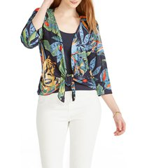 women's nic+zoe jungle 4-way lightweight cardigan, size xx-large - blue
