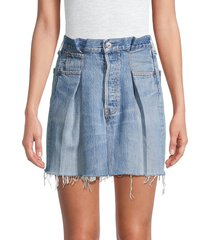 re/done women's pleated denim skirt - indigo - size 30 (8-10)