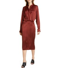women's vince long sleeve silk wrap dress, size xx-small - red