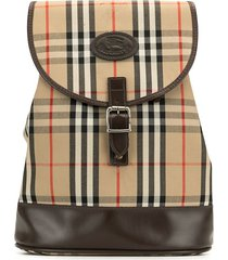 burberry pre-owned nova check drawstring backpack - brown
