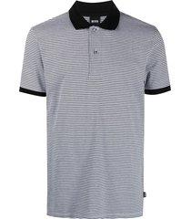 boss micro-pattern polo shirt - white