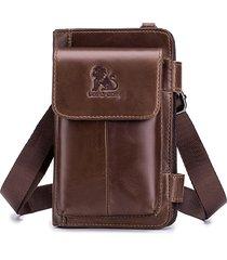 uomo vera pelle multi-carry crossbody borsa 5 slot per schede telefoniche borsa