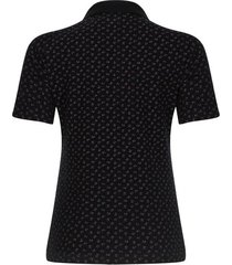 polo mujer estampado ramillete color negro, talla xs