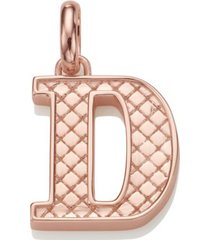 alphabet pendant d, rose gold vermeil on silver