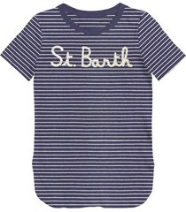 denim striped st barth frontal graphic t-shirt