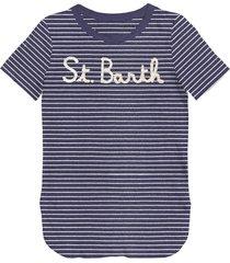 denim striped st barth frontal graphic t-shirt