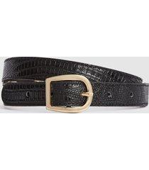 reiss danielle - slim leather belt in black, womens, size l