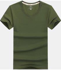 maglietta casuale di base di colore solido accogliente di estate 100% del cotone di estate solido degli uomini