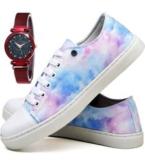 tênis sapatênis fashion tie dye com relógio chili feminino dubuy 735el colorido
