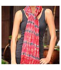 tie-dyed scarf, 'smoky carnation' (thailand)
