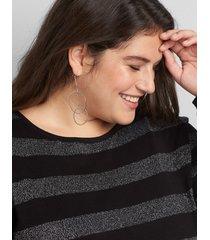 lane bryant women's double-hoop drop earrings onesz silver tone
