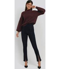na-kd skinny jeans med slits fram och hög midja - blue