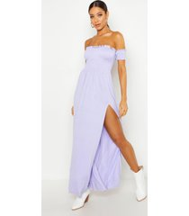 dress with shirred body & sleeves, lilac