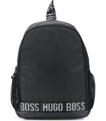 boss kidswear logo band multi-pocket backpack - black