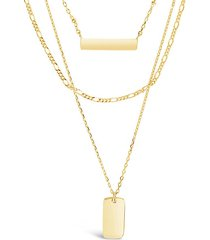 14k gold vermeil bar & dog tag layered necklace