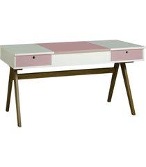 mesa escrivaninha delacroix 430 nogal/branco/lilás - maxima