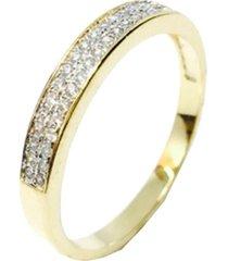 anel kumbayá meia aliança semijoia banho de ouro 18k cravaçáo de zircônia incolor detalhe em ródio - tricae