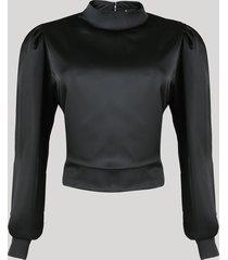 blusa acetinada feminina mindset com abertura e amarração manga bufante decote redondo preta
