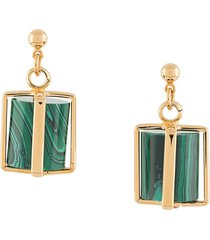 colville gold-plated cage earrings - green
