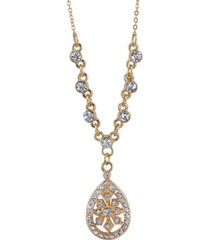 "2028 gold-tone crystal filigree teardrop necklace 16"" adjustable"