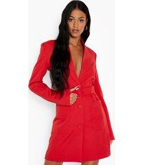 tall blazer jurk met ceintuur en zak detail, red