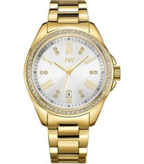 jbw women's capri diamond (1/8 ct.t.w.) 18k gold plated stainless steel watch