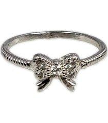 anel papillô joias trabalhado com laço cravejado, em ródio branco