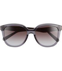 women's salvatore ferragamo 53mm gradient square sunglasses - crystal grey/ grey gradient