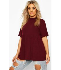 plus high neck rib knitted smock top, wine