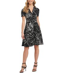 dkny button-front fit & flare dress