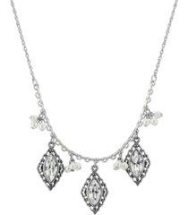 "2028 silver-tone diamond crystal imitation pearl cluster drop 16"" adjustable necklace"