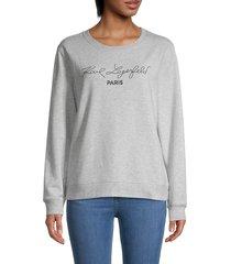 karl lagerfeld women's script cotton-blend sweatshirt - light grey - size m
