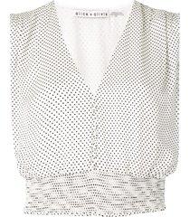 alice+olivia mini dot print blouse - white