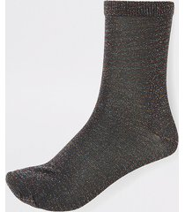river island womens black disco metallic ankle socks