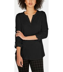 charter club supima cotton split-neck top, created for macy's