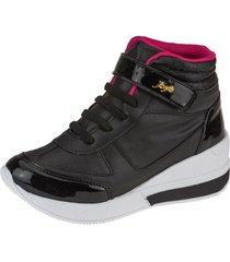 tãªnis sneaker joys shoes flat form preto/pink - preto - menina - dafiti