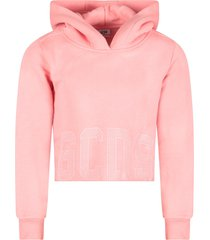 gcds mini pink girl sweatshirt with rhinestoned logo