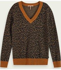 scotch & soda gebreide trui met lange mouwen van een wol-katoenmix