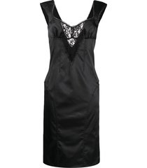 dolce & gabbana pre-owned lace cut-out slim-fit dress - black