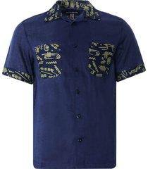 monitaly vacation shirt lt. linen brown x vin print | navy | m29202-nvy