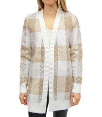 rd style women's checkered open front cardigan - soft multi - size xs