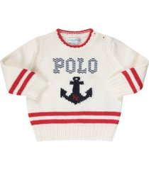 ralph lauren ivory sweater for baby boy with blue anchor