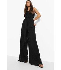 strapless wide leg jumpsuit met ceintuur, black