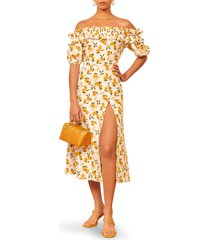 women's reformation marley off the shoulder linen dress, size 12 - yellow