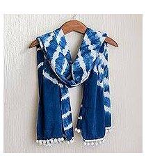 tie-dyed cotton scarf, 'infinite indigo' (el salvador)