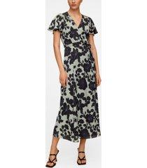 mango embossed flower gown dress