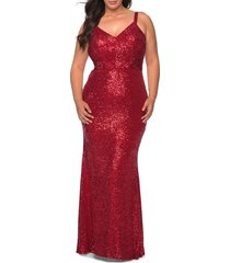 plus size women's la femme sequin crisscross back trumpet gown, size 22w - red